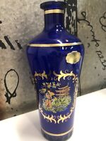 Cobalt Blue Clear Glass & Gold /Asian scene Liquor Bottle Vintage Barware Empty