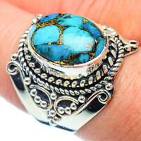 Blue Copper Turquoise 925 Sterling Silver Ring Size 8.5 Ana Co Jewelry R38387F