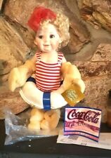 """Vintage Betsy the Coca-Cola Heirloom Collector Porcelain Doll New 15"""" Very Cute!"""