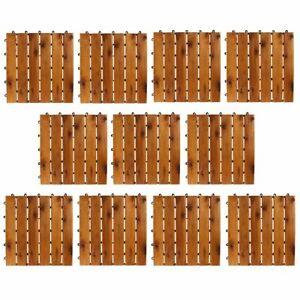 11 Stück Holzfliesen Terrassenfliese Garten Akazie Bodenfliesen 30x30cm Platten