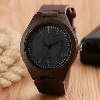 Black Bamboo Nature Wood Brown Genuine Leather Band Strap Men Quartz Wristwatch