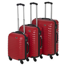 3pc Penn Red ABS 4 Wheel Spinner Suitcase Set Hard Shell Luggage Baggage Cases