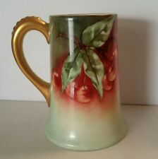 Vintage MR Limoges France Porcelain BERRIES LEAVES Tankard Mug Artist Signed