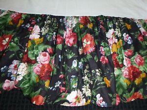 Ralph Lauren Full Bed Skirt Dust Ruffle Isadora Cossette Cosette Black Floral