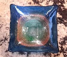 BEAUTIFUL ABSTRACT DESIGN MULTI SWIRL ITALIAN FUSED GLASS BOWL DISH IN MINT COND