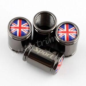 Titanium Styling Tyre Valve Dust Covers Screw Caps Car Parts England Flag Logo