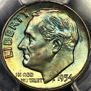 Toned PCGS MS66 1954 P Roosevelt Dime 10c Two Sided Blueberry Color Looks MS67