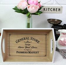 White Vintage Country Style Wooden Tray & Handles. Retro, General Store Pattern.