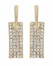 CLIP ON EARRINGS - gold plated drop earring with cubic zirconia stones - Adele G