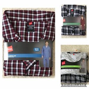 NEW Hanes Men's Cotton Flannel/Woven Pajama Set (S, M, L, XL, 2XL)