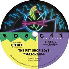 1980s vinyl record label stickers. Human League, Pet Shop Boys, U2, The Smiths