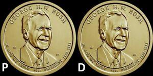 "2020 P&D George H.W. Bush Presidential Dollar ""BU"" (2 Coin Set) US Mint"