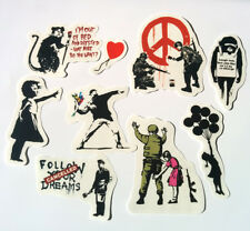 Banksy Sticker Set on Clear Vinyl Decal Pack Car Bike Street Art Graffiti Skate