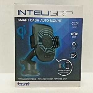 Tzumi Inteligrip Smart Dash Auto Mount, Wireless Charger, Black