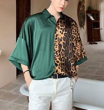 Mens Leopard Print Satin Loose Shirt Oversize 1/2 Sleeve Top Outwear New T-shirt