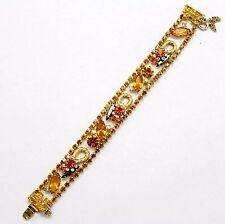 Vintage Juliana Topaz Hematite Rhinestone Twisted Rope Flower Bracelet