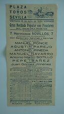 1952 Cartel Plaza de Toros Sevilla 7 Novillos con Picadores Corrida Bullfight