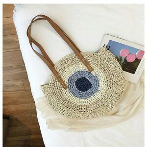 Round Straw Bags Women Bohemian Summer Casual Handmade Woven Circle Rattan New