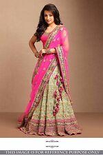 Beautiful Designer Wedding Wear Indian Silk N Net Lehenga Choli - USA Seller
