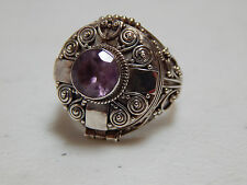 Vintage STERLING Silver & Amethyst Hinged Poison Ring / Pill Box - Sz. 6 - 7.3g