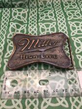 Vintage 1976 Miller High Life Beer Indiana Metal Craft Belt Buckle No Post Back