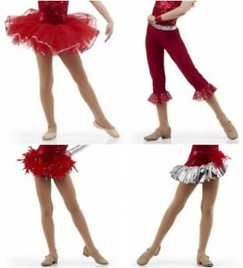 Celebration Bottoms Only Red Jazz Tap Ballet Dance Costume  Adult Sizes