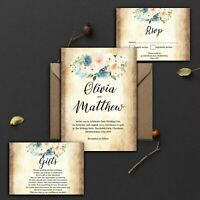 WEDDING INVITATIONS Personalised Vintage Rustic Blush Blue And Peach PK 10