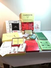 Huge Lot Vintage Canasta 6 Decks Scorepads Holder Sealed W/ Stamps Instructions