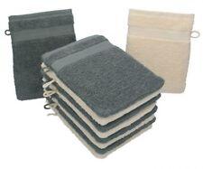 Betz Set di 10 guanti da bagno Premium misure 16 x 21 cm 100% cotone beige e gri