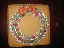 Vintage Christmas Large Wreath Foil Florets Mercury Glass Balls Original Box