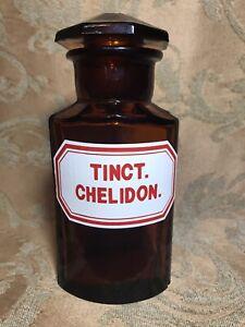 "6.5"" Antique AMBER GLASS APOTHECARY BOTTLE JAR LABEL:""TINCT. CHELIDON."""