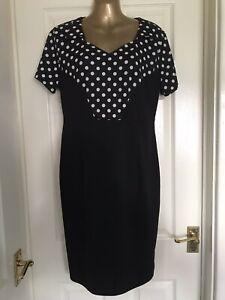 Black White Polka Dot Dress Size 16 Rockabilly Vintage Style