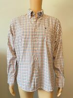 "Barbour Mens Shirt Size M Medium Long Sleeve White Red Blue Check 22"" Regular"