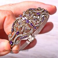 Turkish Handmade Jewelry Sterling Silver 925 Amethyst Bracelet Bangle Cuff New