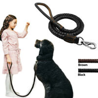 3FT Strong Leather Braided Dog Leash with Heavy Duty Hook for Large Dog Walking