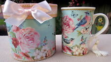 """BLUE BIRD & FLOWER"" 250ML COFFEE/TEA MUG IN MATCHING BOX! LOVELY CHRISTMAS GIFT"