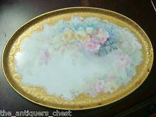 Antique French hand painted w/roses vanity pin dish, gold & roses, signed [121]