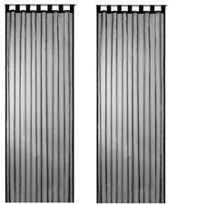 2 x tende tenda ad anelli in voile Leek NERO TRASPARENTE 240X140CM