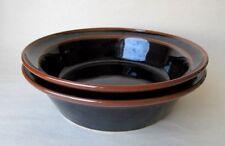 """2 Brown & Black 7 5/8"""" Rimmed Soup Salad Bowls MCM Stoneware"""