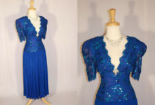 Bewitching Vtg 70's Shimmering Blue Sequin Lace Shelf Bust Party Dress M