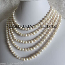 "90"" 6-8mm White Freshwater Pearl Strands Necklace Jewelry"