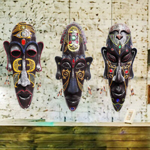African Totem Mask Retro Wall Decor Ornament Tropical Tribal Vintage Resin Bar