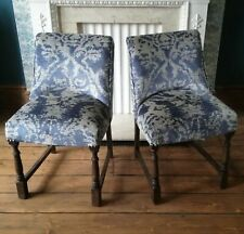 Velvet Re-Upholstered Dining Chairs Kitchen Living Room Animal Print Silver Blue