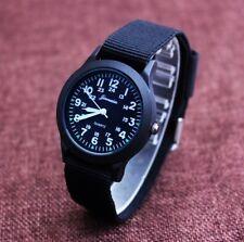 Kids children boys girls time learning nylon fabric strap quartz wrist watch