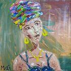 African Queen Art Woman Original Art Impasto Oil Wall Arts Canvas American Portr