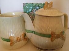 antique English Teapot and large Milk jug Yellow with Bows