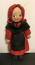 Antique Early Amish Doll Childrens Cloth Doll Folk Art Doll Americana 12""