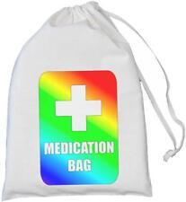 Medication Bag - Rainbow Design - Natural Cotton Drawstring Bag - SMALL