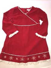 Hanna Andersson girls corduroy ric rac Snowflake  Red Valentine dress Sz 100 4yr