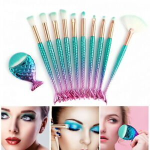 11 X Mermaid Makeup Brushes Set Eyeshadow Fish Tail Foundation  Cosmetic Brush